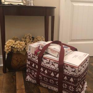 Handbags - Burgundy White Reindeer Deluxe Large Utility Tote